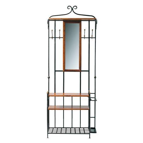 Solid sheesham wood hallway unit and mirror W 83cm
