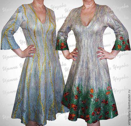 """Платья ручной работы. Ярмарка Мастеров - ручная работа. Купить Двустороннее валяное платье """"Маки"""" перламутровое. Handmade. Бежевый"""