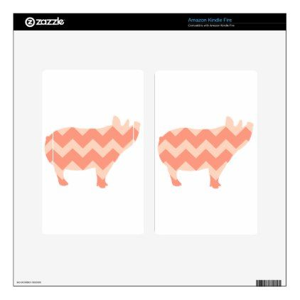 Cute Coral Chevron Pig Kindle Fire Decal - girly gifts special unique gift idea custom