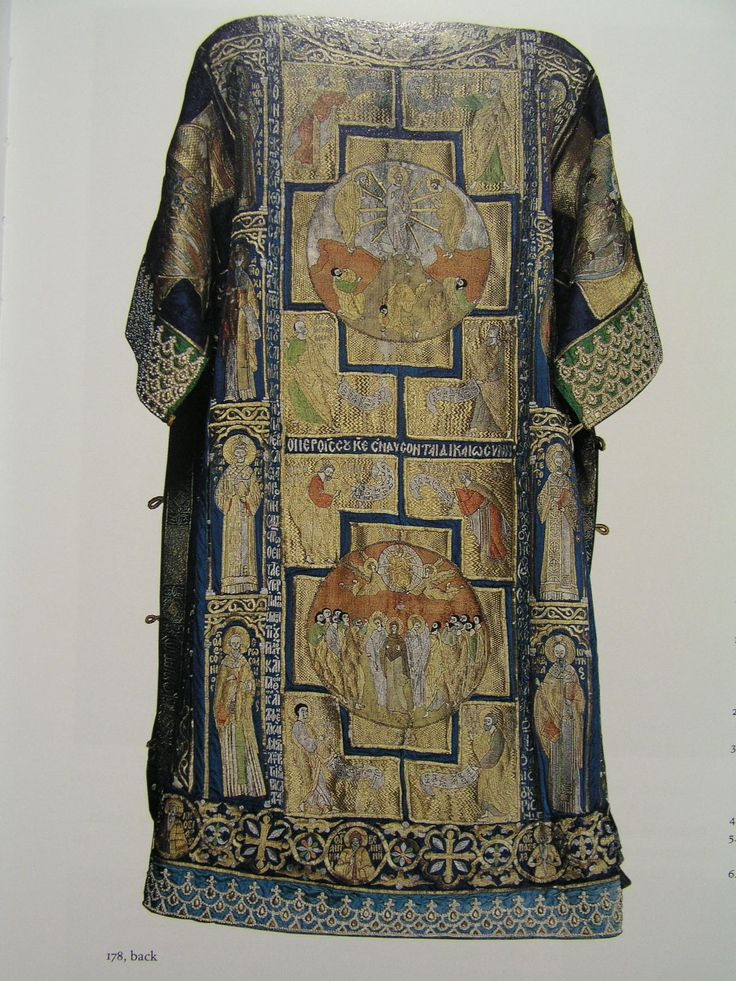 Byzantine embroidery was also prized in Western Europe as shown by the so-called Dalmatic of Charlemagne purported to be commissioned or given as a diplomatic gift for Charlemagne's coronation in 800. The work, now stored in the Vatican treasury, is actually a patriarch's sakkos (tunic) that Constantinopolitan artists created in the 14th century. On the front of this fabulous garment, Christ Enthroned is embroidered in silk and gold threads.: