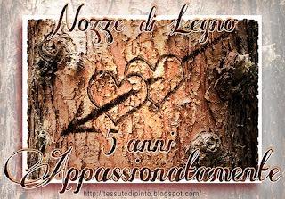 Nozze di legno: 5° Anniversario di Matrimonio - virtual card @ tessutodipinto.blogspot.com