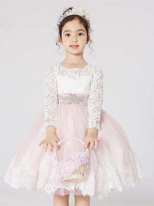 548a10deac3 Off-The-Shoulder Short Sleeves Knee-Length Flower Girl Dress - Tbdress.com