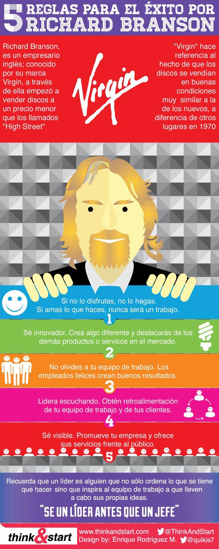 Hola: Una infografía con las 5 reglas del éxito por Richard Branson. Vía Un saludo