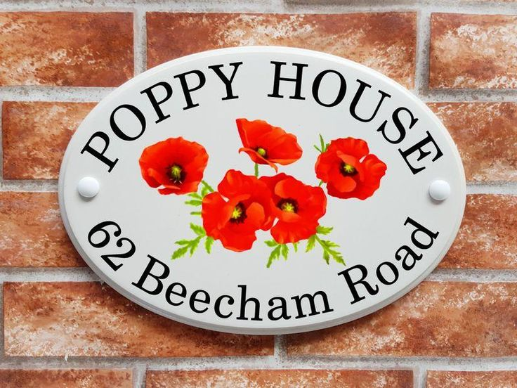 Poppy flowers house sign