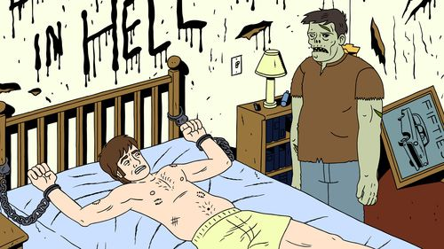 Ugly Americans - Mark Cuffed to Bed