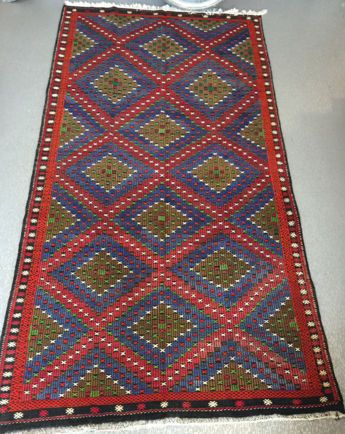 "LARGE TURKISH  KILIM RUNNER, 345 x 190 cm ( 135 "" x 74 "" ), BLUE AND RED"