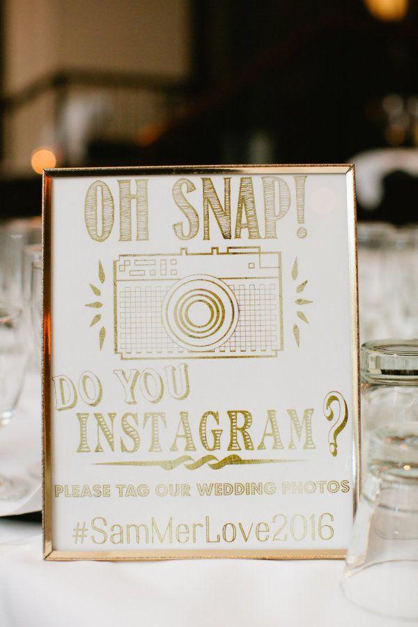 Gold framed Instagram wedding sign: http://www.stylemepretty.com/little-black-book-blog/2017/03/23/elegant-romantic-central-park-winter-wedding/ Photography: Betsi Ewing Studio - http://betsiewing.com/
