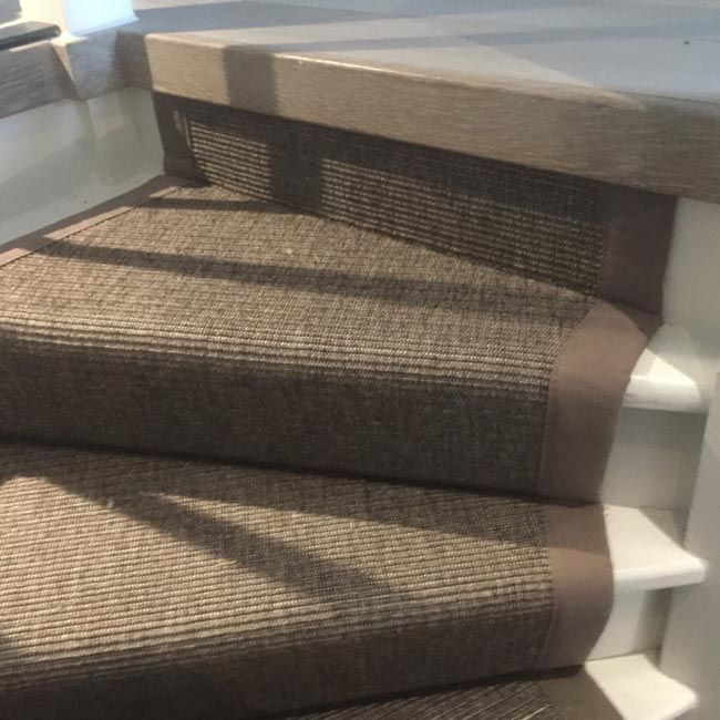 Grey Sisal Carpet Installation To Stairs