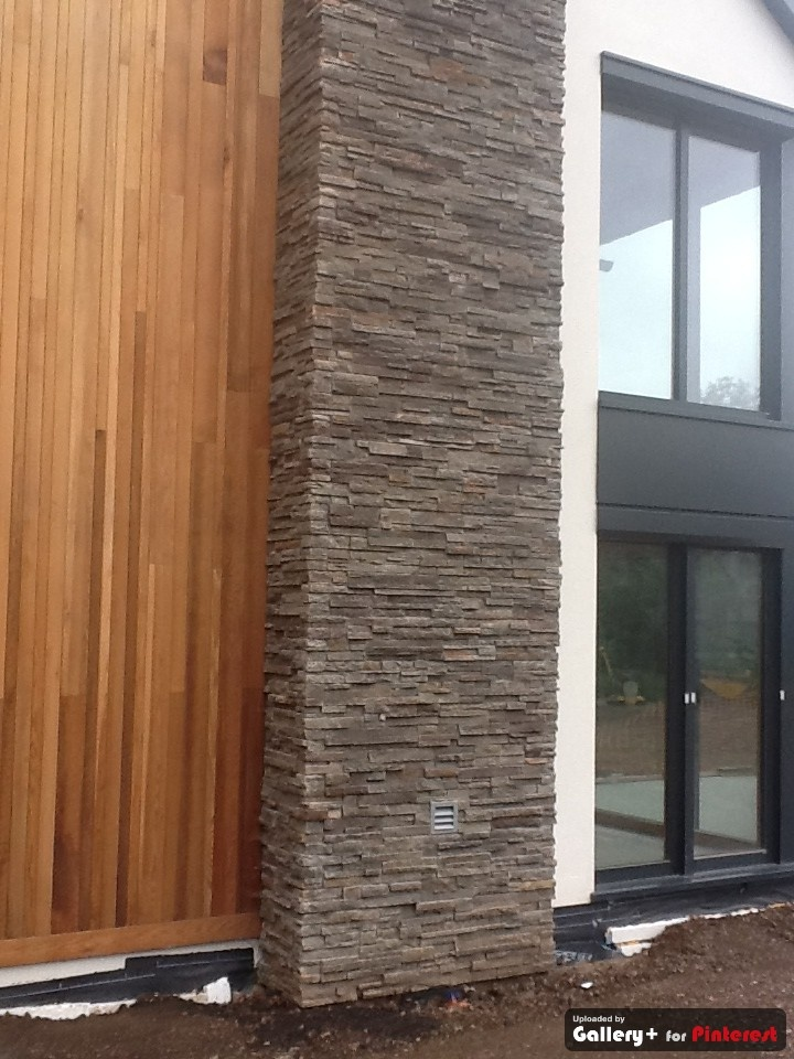 wood and stone cladding is such a good match #stone and timber cladding #www.fernhillstone.com