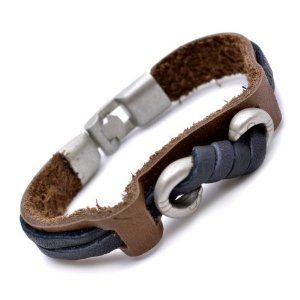 Brown and Black Leather Cool Mens Bracelet