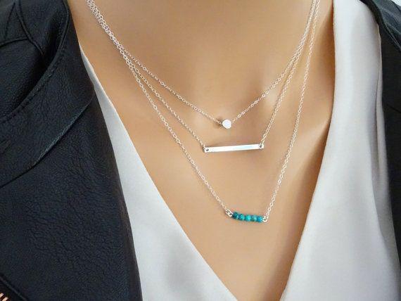 Layered collier serti, collier en argent Bar, Pierre Turquoise bar, Dot collier, chaîne en argent Sterling, Dainty Layered Necklace, SPDB20