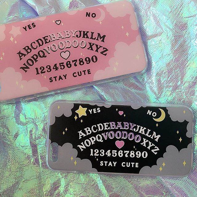 Oh hi new phone cases  These babies will be available on Black Friday along with some other new items so stay tuned babes! (Phone cases currently will only be made for iPhone 5/5s and iPhone 6/6s and Plus)Xxx #babyvoodoo #design #babyvoodooart #ouija #spookybabe #pink #pastelgoth #kawaii #palegrunge #tumblrfashion #iridescent
