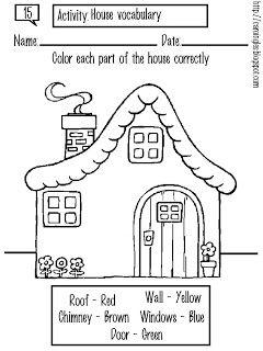 Esta es una ficha creada para complementar el vocabulario básico/general del niño/a. Dice relación con las partes exteriores que conforman una casa/edificio. El niño debe colorear las partes de la casa del color que se indica en el recuadro inferior de la ficha