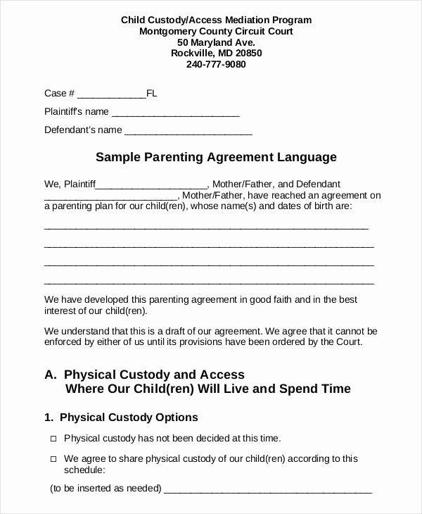Sample Custody Agreement Custody Agreement Child Custody