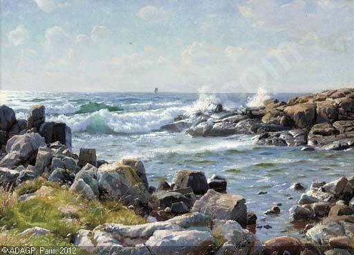 Peder Mørk Mønsted (1859-1941): The coast of Bornholm, 1921