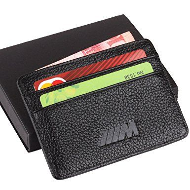 a5baec1f7e M BMW Slim Wallet Black with 4 Credit Card Slots – Genuine Leather ...