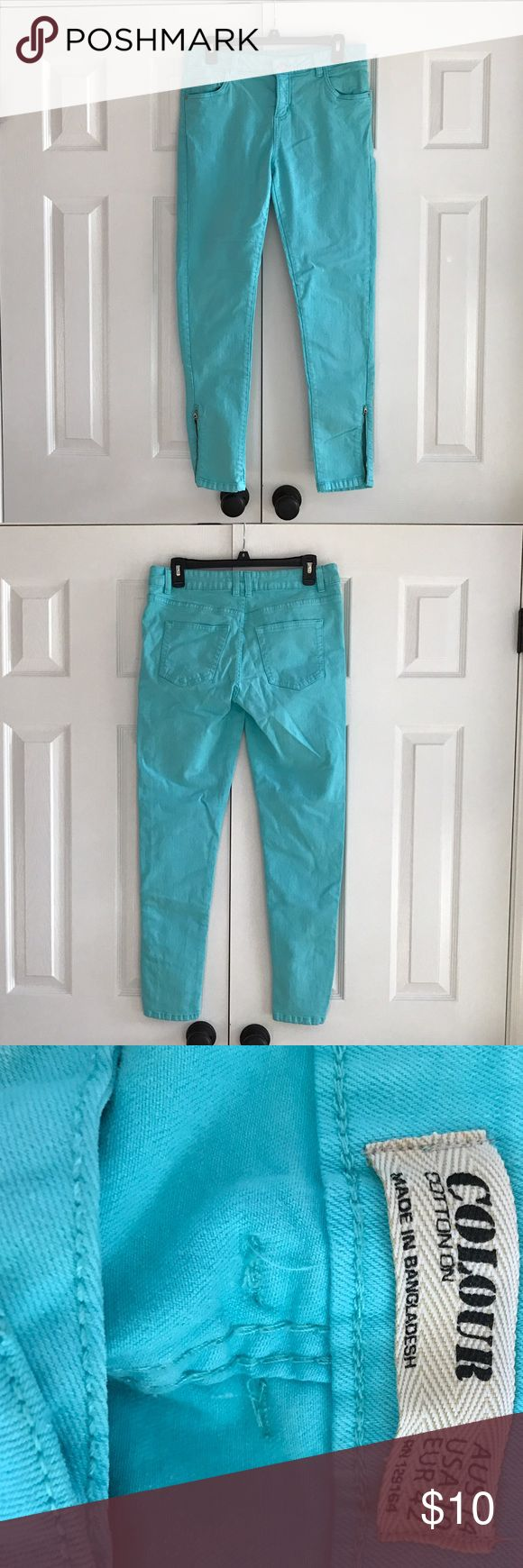 "Cotton On Colour jeans 90% cotton 2% elastane  Machine wash cold.  Color is a lighter turquoise. Jeans are skinny leg with the zippers.  Photo 4. Front rises 9 1/2"" and back rises 14"". Inseam is 29"". Flat waist at waistband is 16 1/2"" across. No rips no stains and all  stitching is intact. Gently worn and cleaned. No trades and please use offer button. Cotton On Jeans Skinny"