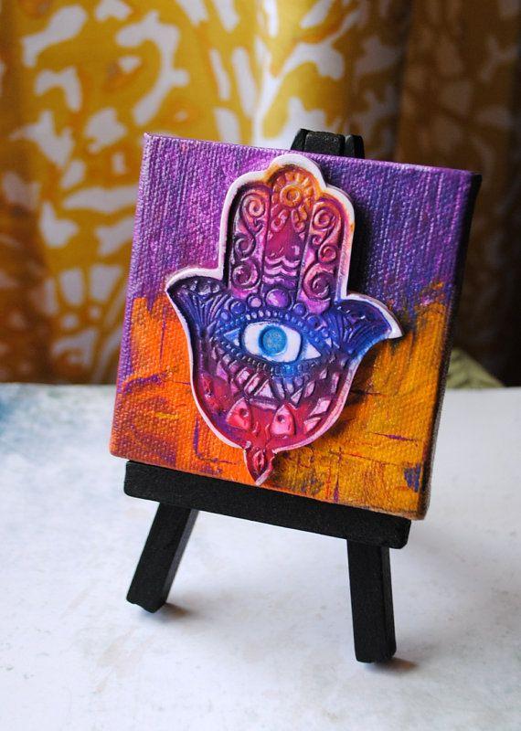 Hamsa of Many Colors mini canvas mixed media by TMBakerDesigns, $20.00