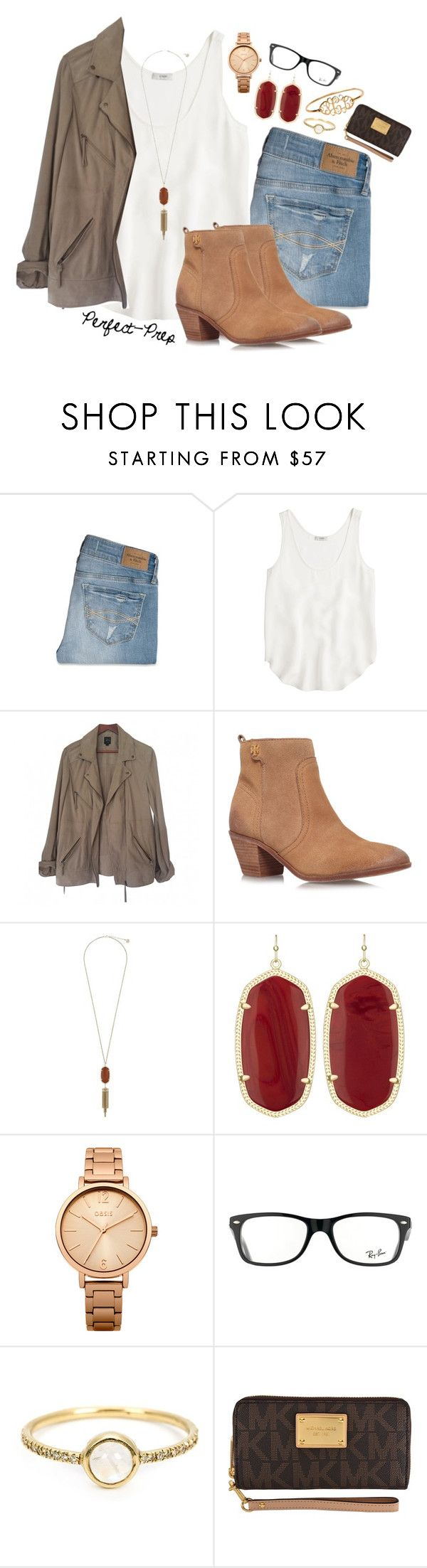 """""""Casually Preppy"""" by perfectgabby ❤ liked on Polyvore featuring Abercrombie & Fitch, J.Crew, SWILDENS, Tory Burch, Kendra Scott, Oasis, Ray-Ban, Irene Neuwirth, MICHAEL Michael Kors and women's clothing"""