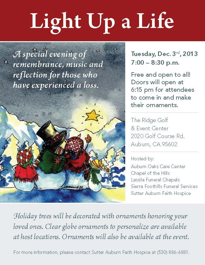 Join us for Light up a Life a FREE event at the Ridge