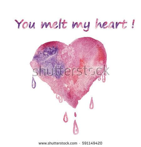 Valentine's Day Greeting Card with Watercolor pink-purple heart and cute text - you melt my heart