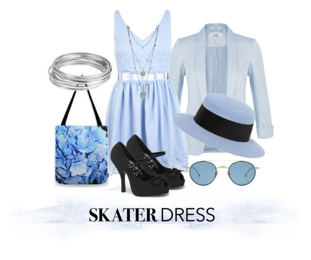 """""""Periwinkle Skater Dress Outfit"""" by kashmier ❤ liked on Polyvore featuring Miss Selfridge, Pinup Couture, Thom Browne, Alex, Vince Camuto, Worthington, femininefashion and leatherwooddesign"""