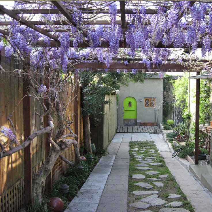 Arbor Over Gate Ideas: Wisteria Arbor Permeable Paver