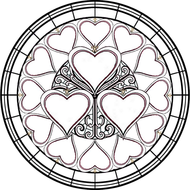 valentines stained glass coloring pages - photo#12