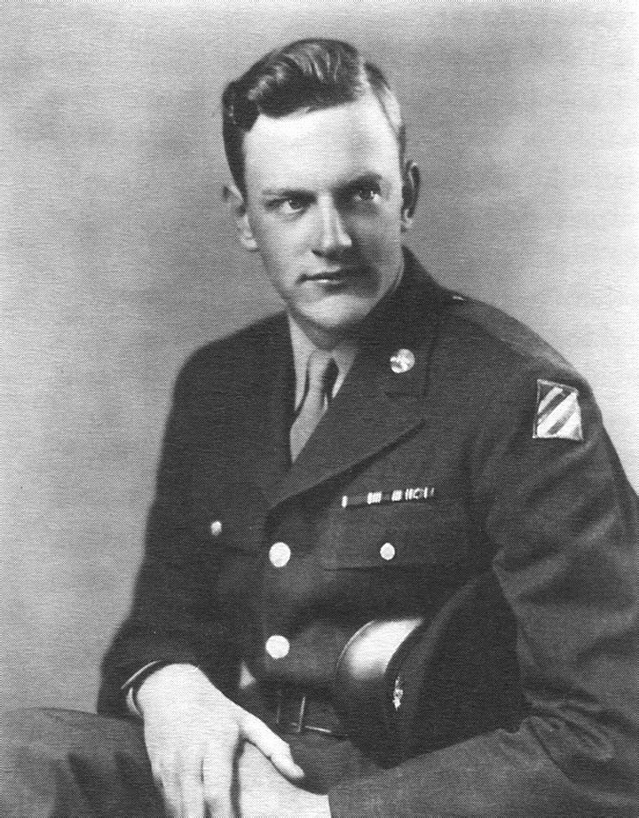 """James Arness, USA 1943-45 WW II. Arness, who was 6'7"""", said he wanted to be a fighter pilot but the height limit for aviators was 6'2"""". He was drafted in '43, served as a rifleman in the 3rd Infantry Division, and was severely wounded at Anzio, Italy. After several surgeries he was discharged but had a lifelong limp. Earned  a Bronze Star and Purple Heart."""