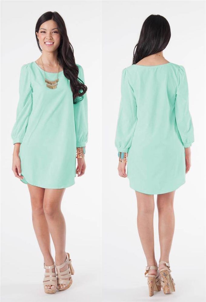 Details about Mint Green Long Sleeve Scoop Neck Shift Tunic Dress ...