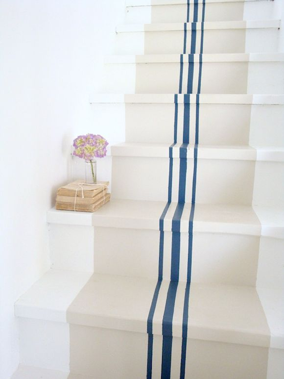 nautical stripes: Grainsack, Paintings Stairs, Beaches House, Paintings Staircase, Basements Stairs, Grains Sack, Stairs Runners, Basements Step, Blue Stripes