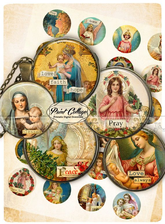 Cabochon images Digital Collage Sheet - Catholic Religion Christmas 1.5 inch 18mm 14mm 1 inch digital download Bottle Cap image c220 - pinned by pin4etsy.com