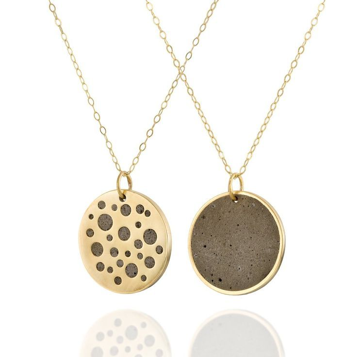 Double Sided Minimalist Concrete Circles Necklace in Gold, by BAARA Jewelry.