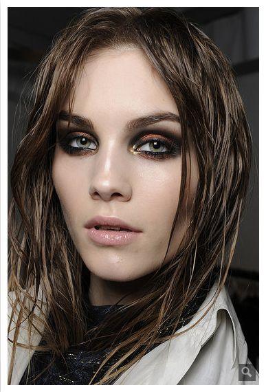 Perfect smokey eye, runway makeup.