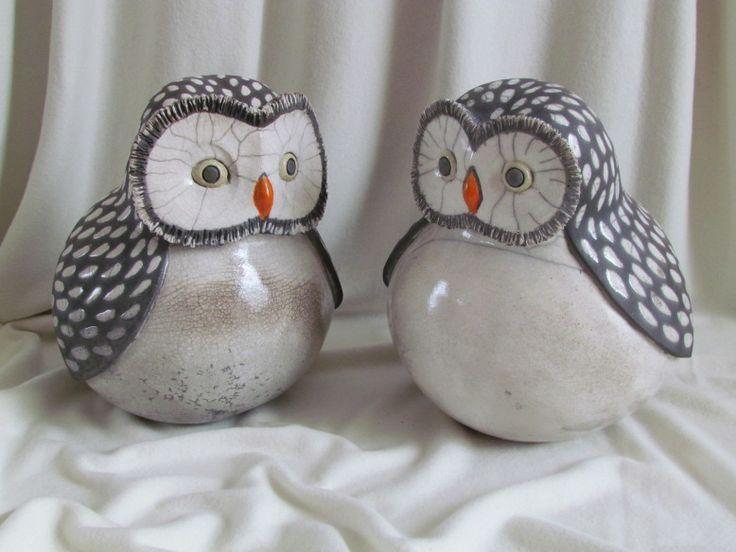sculpture raku chouette animaux céramique grès Danièle Meyer