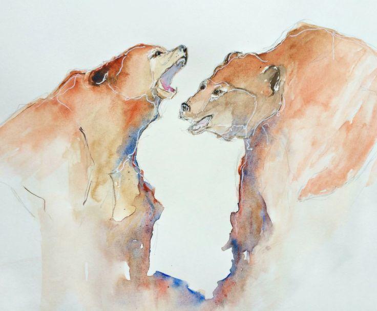 Медведи, акварель
