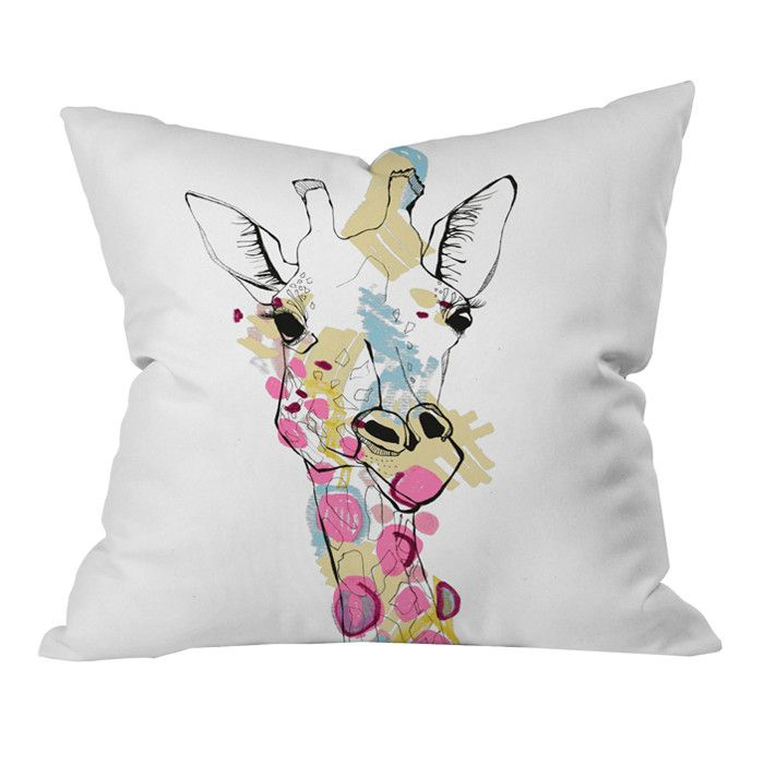 Casey Rogers Giraffe Watercolor Illustration Pillow