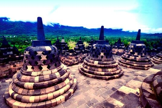 Borobudur Temple is the world's biggest Budhist monument, located in Magelang, Central Java, Indonesia, 130607