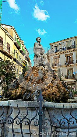 A statue at one of the Piazzas in Palermo Sicily,