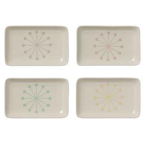 Assiette rectangulaire (par 4) céramique Alberte Bloomingville