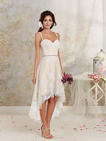 Alfred Angelo 8534NT Short lace wedding dress, great with boots. Ivory Size 8