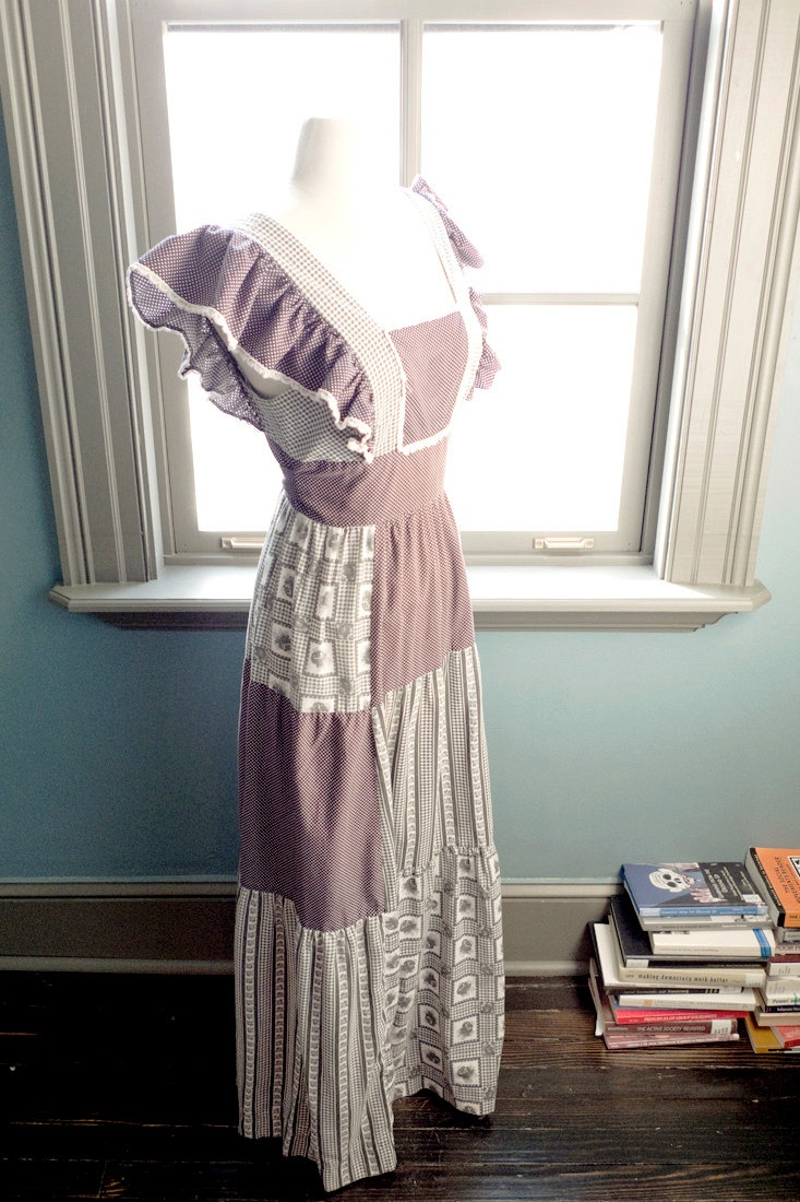 Kindred spirit... Vintage Young Edwardian patchwork calico maxi prairie dress. $68.00, via Etsy.