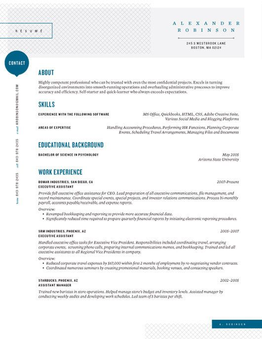 Resume Design Layout Inspiration - simplistic with flair, conservative, similar style to an inter-office memo or mission statement ('the Shearling Point' by Loft Resumes)