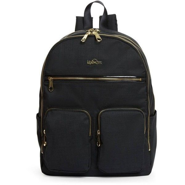 Kipling Tina Backpack (490 BRL) ❤ liked on Polyvore featuring bags, backpacks, gold zipper backpack, knapsack bag, kipling backpack, zipper bag and gold backpack