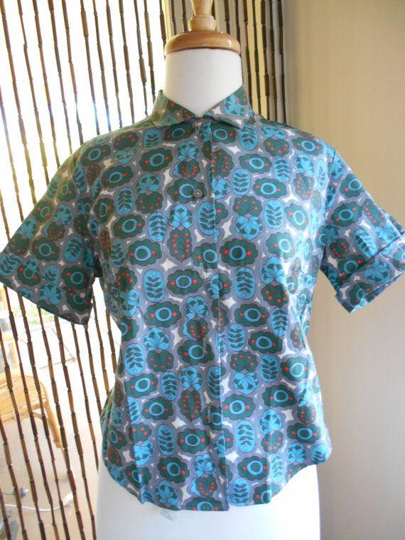 Vintage 1950s Crisp Cotton Deadstock Atomic Blouse by NinasVintageCloset on Etsy