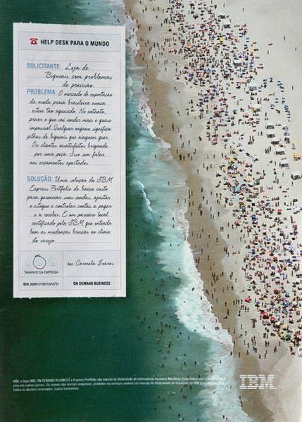 Anúncio IBM (vista aérea de praia, mar e multidão de banhistas)