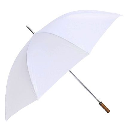Straight Classic White Umbrella | Our most popular Wedding Rain Umbrella by far. Large coverage, comfortable fit the bride and groom under the canopy.