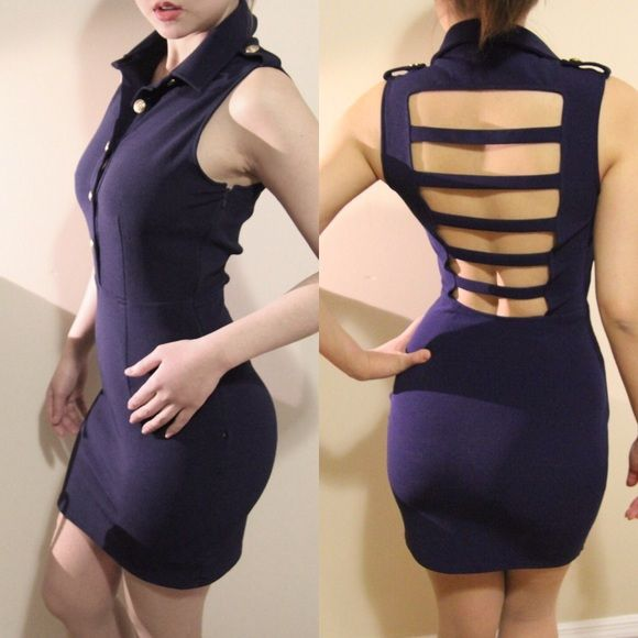 """Forever 21  Bodycon Dress. HOT ❤️ Forever 21 nautical mini dress with sexy back  • Navy with gold buttons • New without tag • Length: 31.5"""" • Size: Small Forever 21 Dresses Mini"""