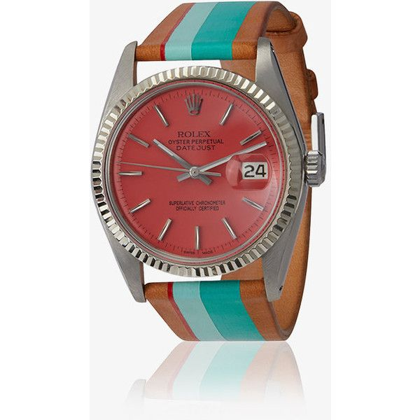 La Californienne Mint Pink Palm Rolex Steel And Leather Watch ($9,370) ❤ liked on Polyvore featuring jewelry, watches, red, steel jewelry, colorful watches, mint green jewelry, multicolor jewelry and mint watches