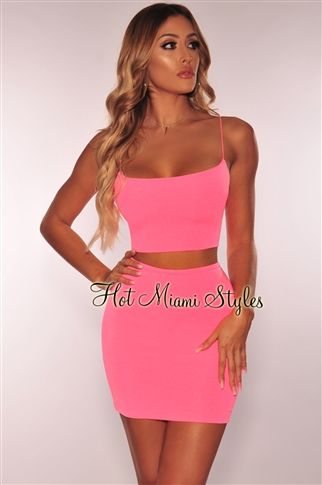 b5255c9c Neon Pink Spaghetti Straps Skirt Two Piece Set in 2019 | Hollywood ...